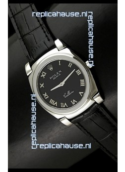Rolex Cellini Japanese Replica Steel Watch in Black Dial
