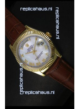 Rolex Day Date 36MM Yellow Gold Swiss Replica Watch - White MOP Dial