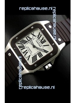 Cartier Santos Swiss Replica Automatic Watch in Brown Strap