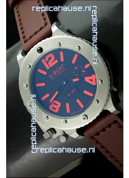 U Boat U-42 Diver Titanium Swiss Watch in Red Markers