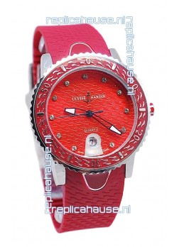 Ulysse Nardin Lady Diver Starry Night Replica Watch in Red Dial