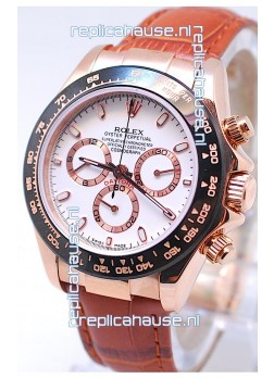 Rolex Daytona MonoBloc Cerachrom Bezel Swiss Replica Rose Gold Plated Watch in Brown Strap