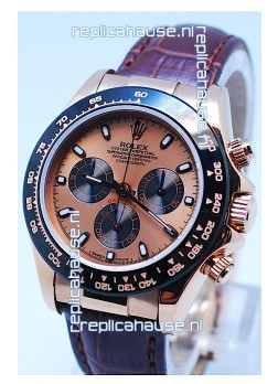 Rolex Daytona Chronograph MonoBloc Cerachrom Bezel Swiss Replica Watch in Rose Gold Plated Dial