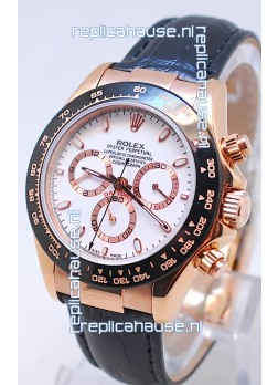 Rolex Daytona MonoBloc Cerachrom Bezel Swiss Replica Rose Gold Plated Watch in White Dial