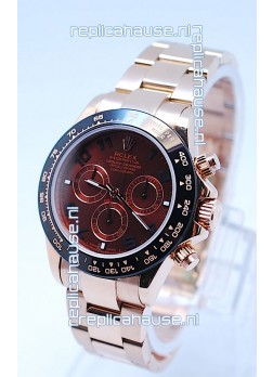 Rolex Daytona Chronograph MonoBloc Cerachrom Bezel Swiss Replica Watch in Brown Dial