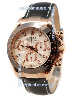 Rolex Daytona Monobloc Cerachrome Everose Swiss Watch in White Dial - 1:1 Mirror Replica