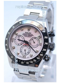 Rolex Daytona MonoBloc Cerachrom Bezel Swiss Replica Rose Gold Plated Watch in Pink Mother Pearl Dial