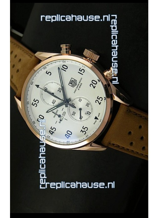 317fa0b3c21 Tag Heuer Carrera 1887 SpaceEX Edition Japanese Quartz Watch in Pink Gold
