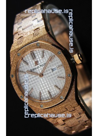 Audemars Piguet Royal Oak Frosted Rose Gold QUARTZ Watch White Dial 33MM - 1:1 Mirror Replica