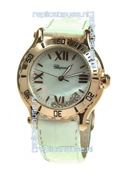 Chopard Happy Sport Diamonds Edition Replica Gold Watch in White Strap