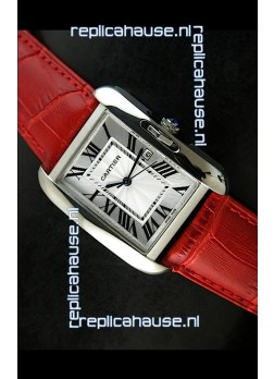 Cartier Tank Ladies Replica Watch in Steel Case/Red Strap