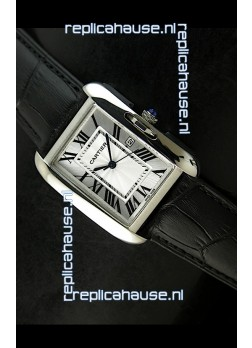 Cartier Tank Ladies Replica Watch in Steel Case/Black Strap