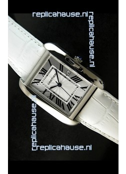 Cartier Tank Ladies Replica Watch in Steel Case/White Strap