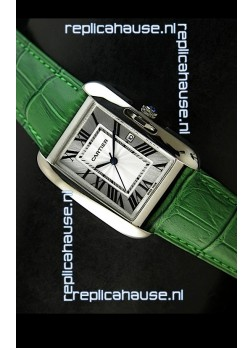 Cartier Tank Ladies Replica Watch in Steel Case/Green Strap