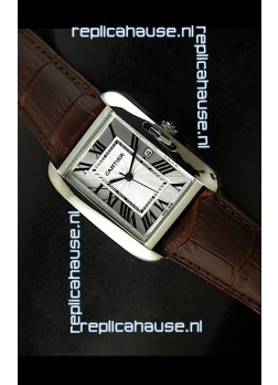 Cartier Tank Ladies Replica Watch in Steel Case/Brown Strap