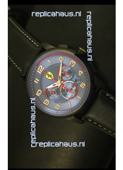 Scuderia Ferrari Heritage Chronograph Watch in Blue Dial Black Steel Case