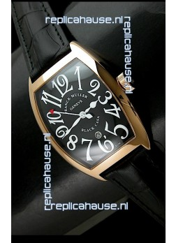 Franck Muller Geneve Casablanca Japanese Rose Gold Watch in Black Dial