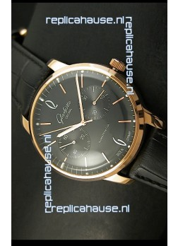 Glashuette Senator Japanese Replica Watch in 18K Pink Gold Case