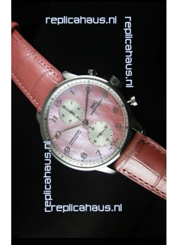IWC Portuguese Chronograph Swiss Replica Watch in Pink Pearl Dial - 1:1 Mirror Replica Edition