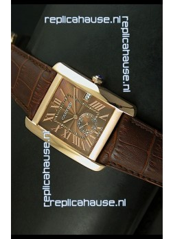 Cartier Tank Anglaise Japanese Replica Watch 34MM - Brown Dial Pink Gold