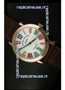 Franck Muller Master of Complications Liberty Japanese Replica Watch in Pink Gold Case