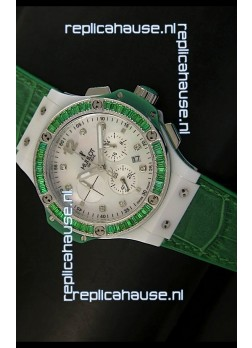 Hublot Big Bang 34MM Ladies Tutti Frutti Edition in Green Strap