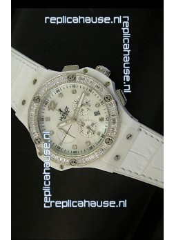 Hublot Big Bang 34MM Ladies Watch in Quartz Movement - White Dial/Strap