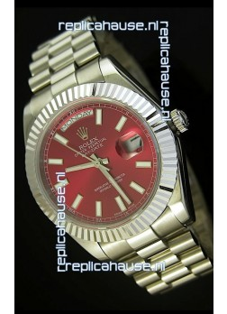 Rolex Day Date II 41MM Swiss Replica Watch - Red Dial - 1:1 Mirror Replica Watch