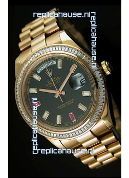 Rolex Day Date II 41MM Swiss Replica Watch - Black Dial - 1:1 Mirror Replica Watch