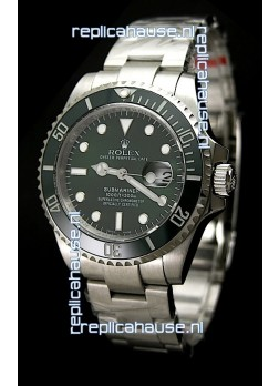 Rolex Submariner Watch with Glidelock Clasp Green Bezel/Dial