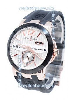 Ulysse Nardin Executive Dual Time Japanese Replica Rose Gold Watch in Black Bezel