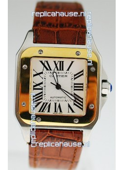 Cartier Santos 100 Swiss Replica Two Tone Watch
