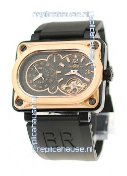 Bell and Ross BR Minuteur Tourbillon Japanese Replica Gold Watch in Black Dial