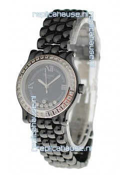 Chopard Happy Sport Ladies Japanese Black Ceramic Watch