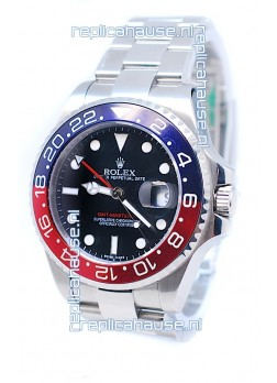 Rolex GMT Masters II 2011 Edition Swiss Replica Watch in Blue & Red Cerarmic Bezel