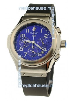 Hublot MDM Chronograph Swiss Replica Watch in Blue Dial