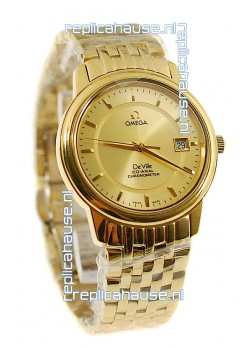 Omega Co-Axial Deville Japanese Gold Watch in Golden Markers