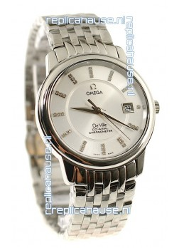 Omega Co-Axial Deville Japanese Steel Watch in Diamond Encrusted Stick Markers