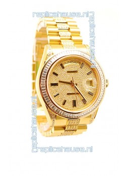 Rolex Day Date Swiss Watch in Yellow gold with Diamonds Dial