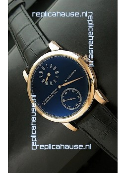 A. Lange & Sohne Cortes de Geneve Decorative Bridges Classic Replica Rose Gold Watch in Black Dial