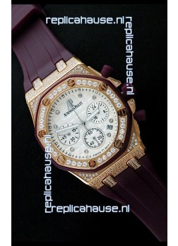 Audemars Piguet Royal Oak Ladies Alinghi Limited Edition Japanese Gold Watch in White Dial