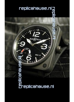 Bell and Ross BR013 97 Power Reserve Swiss Replica Watch in Black dial