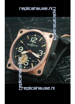 Bell and Ross BR01 97 Power Reserve Rose Gold Watch in Black Dial