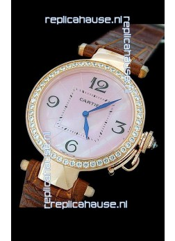 Cartier Pasha de Swiss Replica Automatic Watch in Pink Dial
