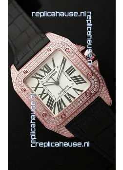 Cartier Santos 100 Swiss Automatic Replica Watch in Rose Gold