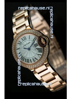 Ballon De Cartier Ladies Replica Watch in Pink Gold