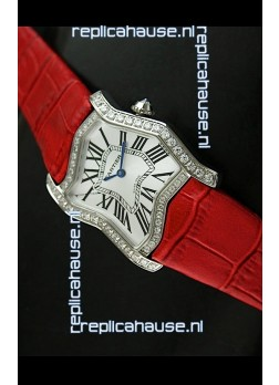 Cartier Tank Folle Ladies Replica Watch in Steel Case/Red Strap