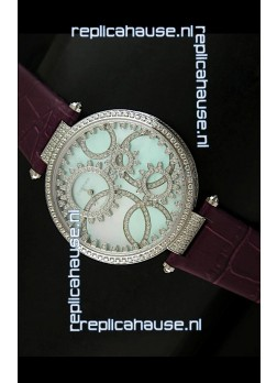 Cartier Replica Watch with Diamonds Embedded Dial Bezel in Steel Case/Maroon Strap