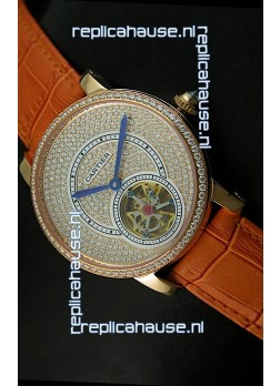 Ronde De Cartier Tourbillon Replica Watch Pink Gold Case - Brown Strap