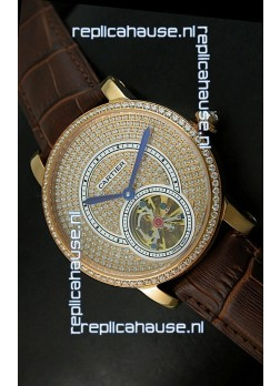 Ronde De Cartier Tourbillon Replica Watch Pink Gold Case - Dark Brown Strap